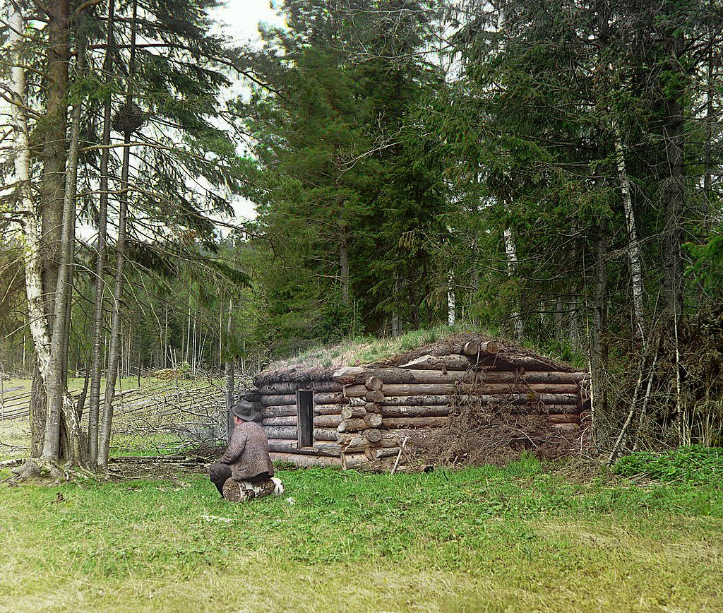 Охотничья заимка. Рубка в решь. Фотография Прокудина-Горского