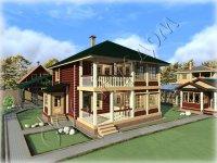 """Деревянный полутороэтажный дом с небольшим каминным залом """"Елена"""""""