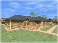 """Одноэтажный деревянный дом и баня под одной крышей """"Бажен"""""""